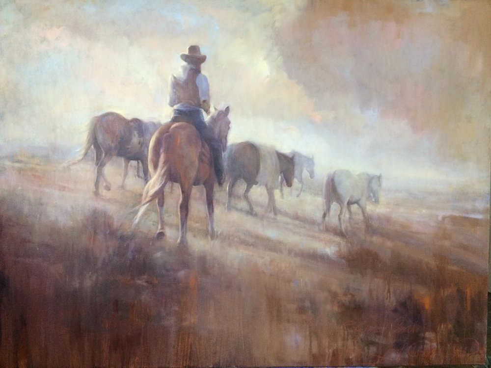 "The Dusty Trail, 30""x40"", oil on canvas"