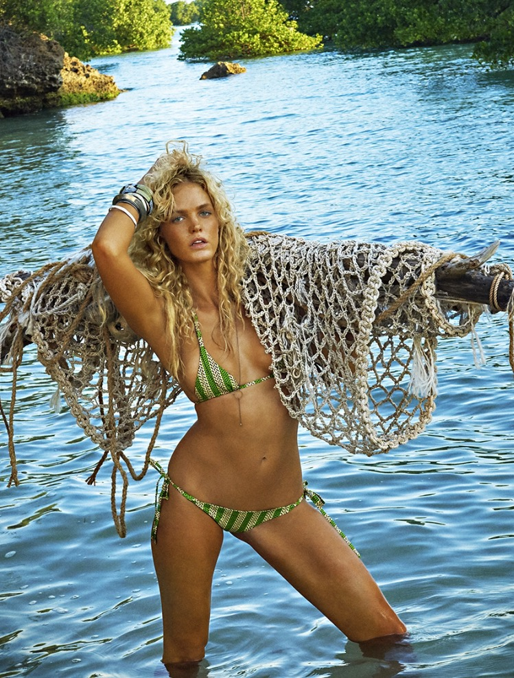 Dolorous Jewelry Drop Spike Necklace on Erin Heatherton in Sport Illustrated Swimsuit 2016