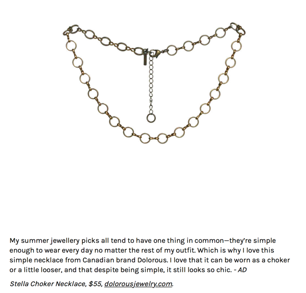 Writeup by Alexandra Donaldson for Canadian Living Magazine. Buy the necklace  HERE