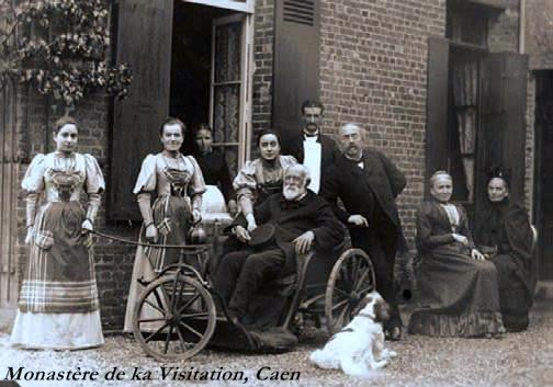 Louis Martin after he was discharged from the Bon Sauveur hospital.  This photo was taken in 1892 at rue Labbey, his last home in Lisieux.  Léonie is standing, second from left.