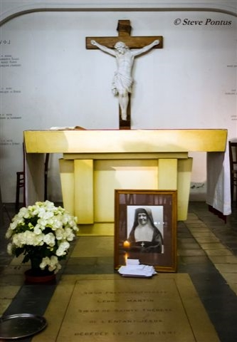 The tomb of leonie martin in the crypt of the monastery of the visitation at caen, photographed when a group of american pilgrims visited as part of an apostleship of prayer pilgrimage in 2014