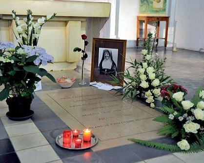 The tomb in the crypt of the Visitation Monastery at Caen where the body of Leonie Martin, Sister Francoise-Therese, rested from 1941 until her body was exhumed on April 25, 2015