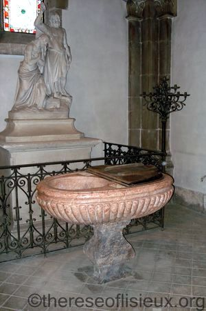 The baptismal font in which Leonie was baptized, in the church of St. Pierre de Monsort in Alencon