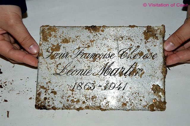 The original coffin-plate of Leonie Martin, which was supplied by the funeral director in 1941, photographed after the exhumation, April 25, 2011.  It gives her religious and civil names and the years of her birth and death.