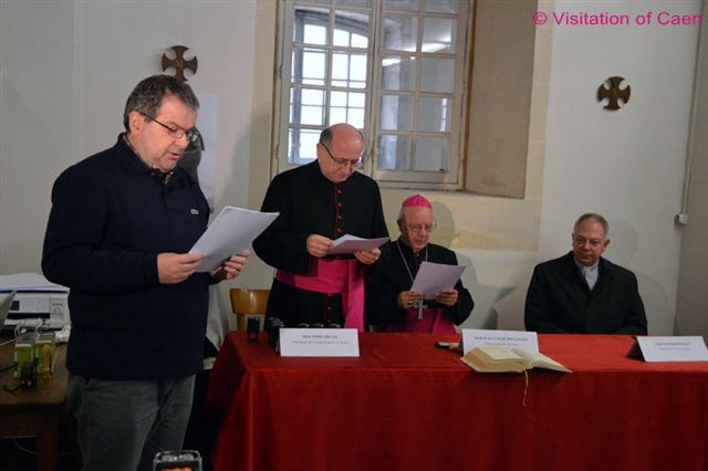 Foreground, Fabio Reggazone, Fr. Sangalli' secretary; Msgr. Apeciti; Bishop Boulanger; Father Ruffray.