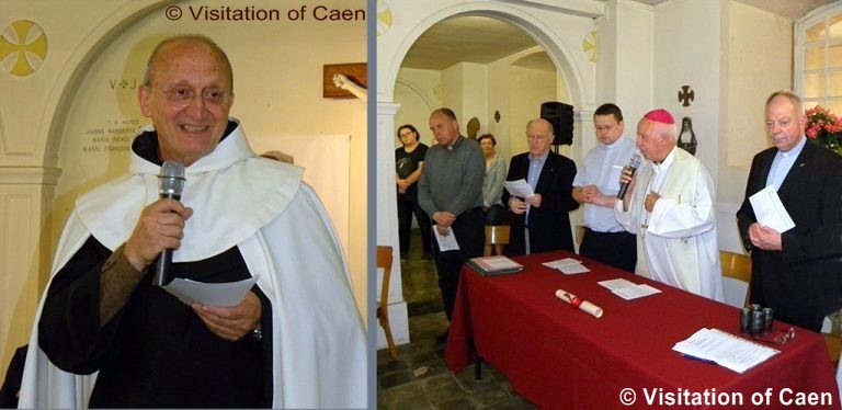 Left: Carmelite friar fr. antonio sangalli, postulator of Leonie's cause, in the crypt on the day it was reopened.  From far right, Fr. Olivier Ruffray, rector of the shrine at lisieux; mgr jean-claude boulanger, bishop of bayeux and lisieux; father Jean-Marie simar, rector of the shrine of sts. louis and zelie at al4encon, with members of the historical commission.  photo credit: visitation of caen.