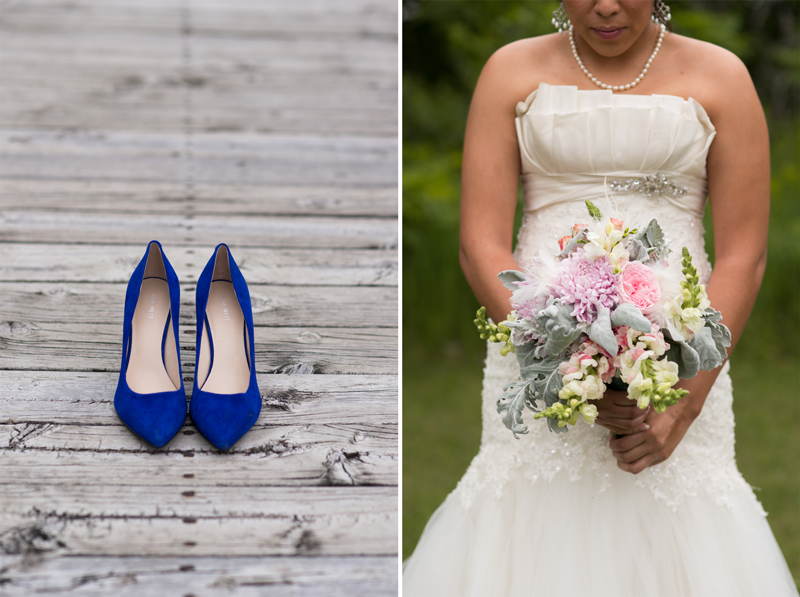 Bride with Blue High Heels