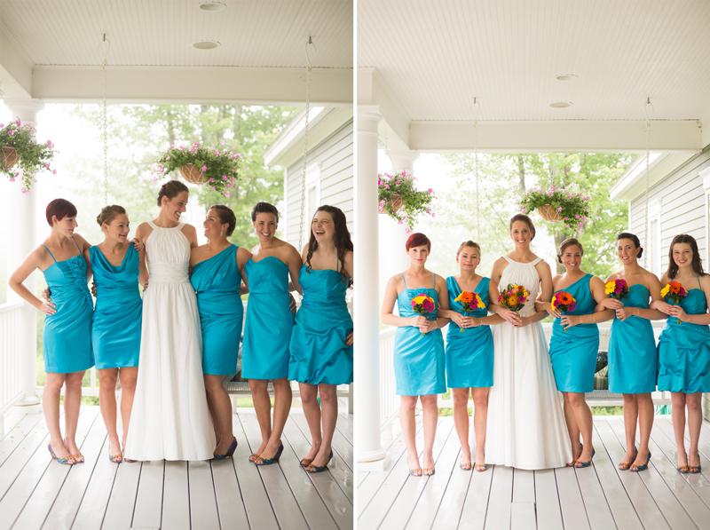 teal-bridesmaid-dresses-multicolor-flowers