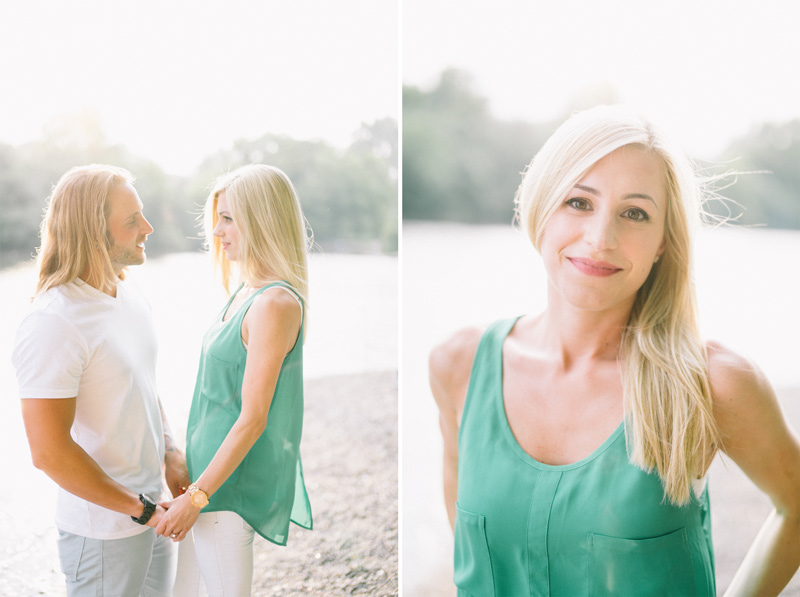 green and white engagement photos by the mississippi river