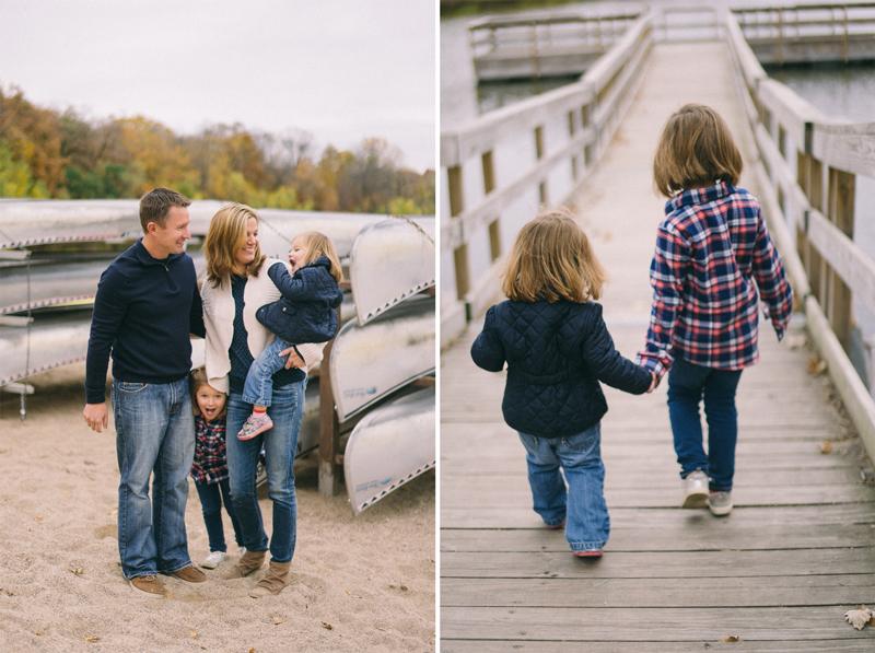 family photos at the lake