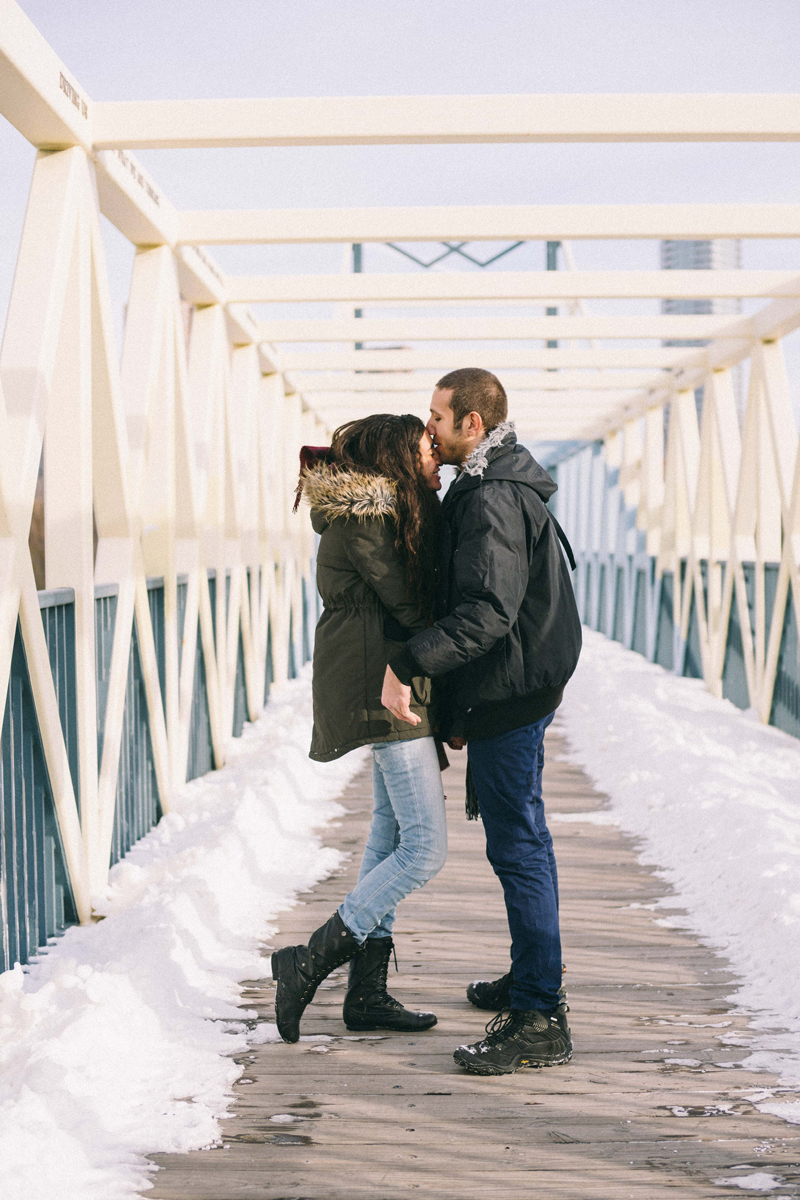 minneapolis urban winter engagement photos