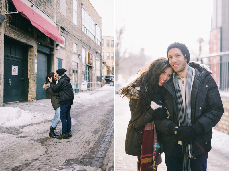 downtown minneapolis winter engagement photos