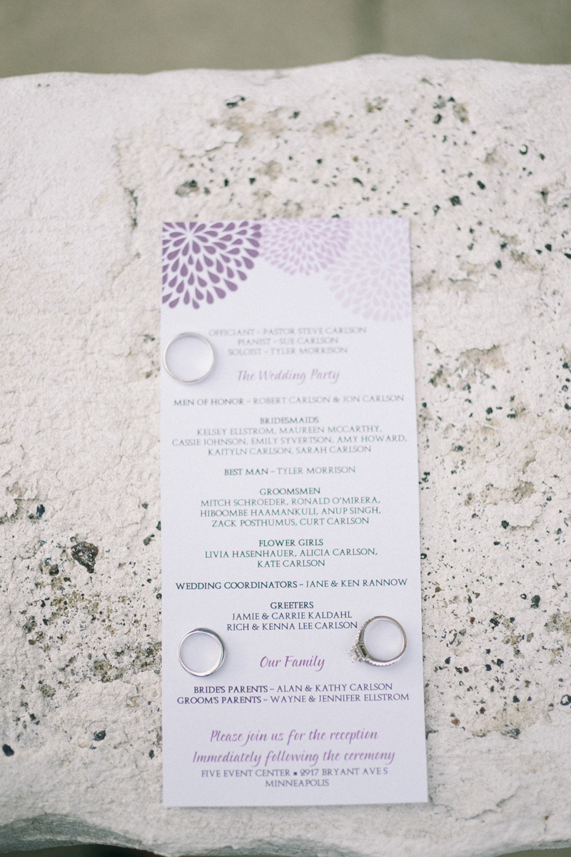 Minneapolis fine art wedding photographer rings and invitation
