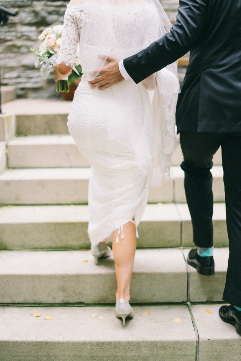 Bride and Groom walking away at Minneapolis Fine Art Wedding Photographer