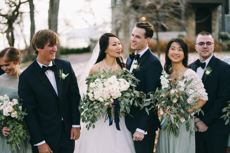 St Paul winter wedding bridal party photos