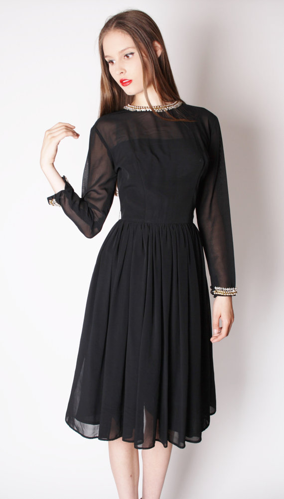 Vintage 1950s Black Chiffon Beaded Cocktail Dress / Black Dresses / Beaded Dress / Cocktail Dress / Holiday Fashion / New Years Style / 147
