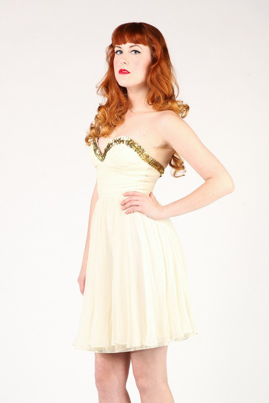 1950s Dress/Cream Chiffon/Gold Sequin XS