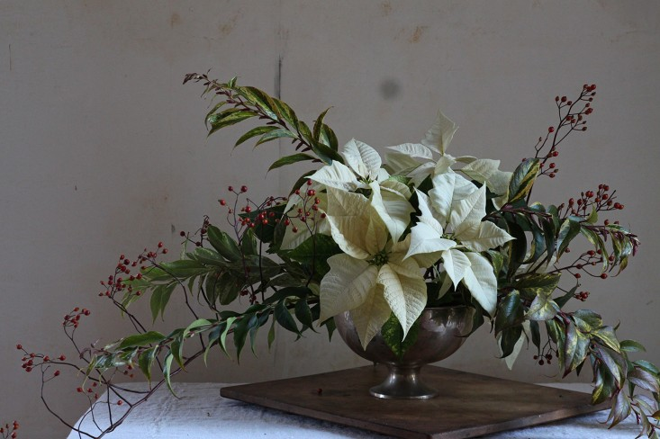 Poinsettia bouquet with rose hips, finished arrangement 2, by Justine Hand for Gardenist.jpg
