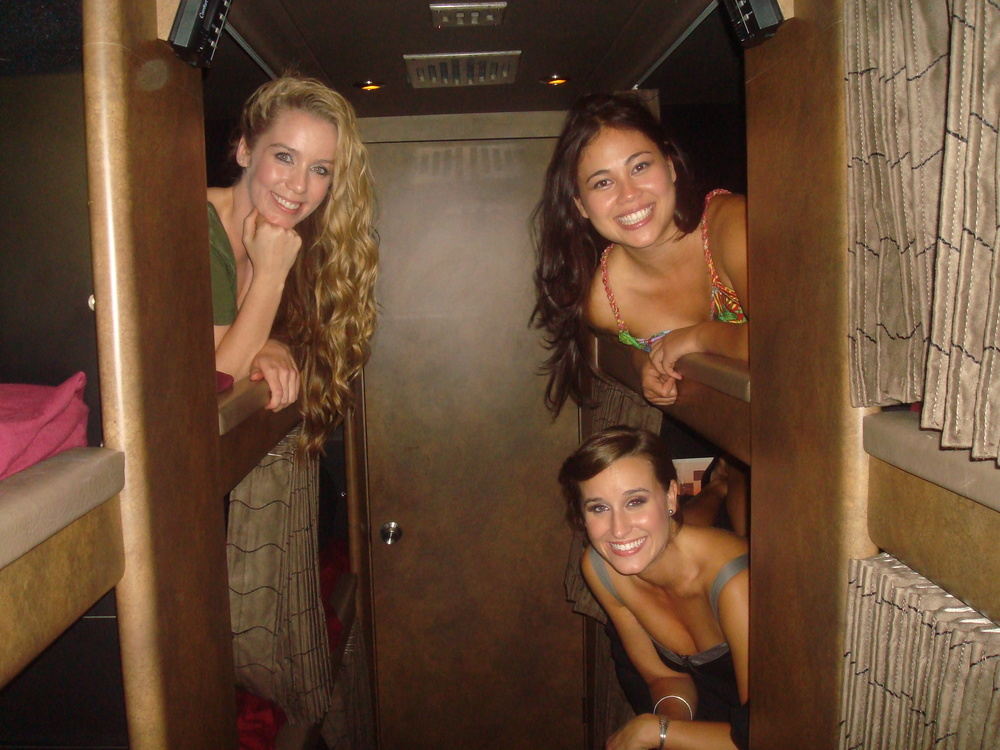 Girl talk on the tour bus!