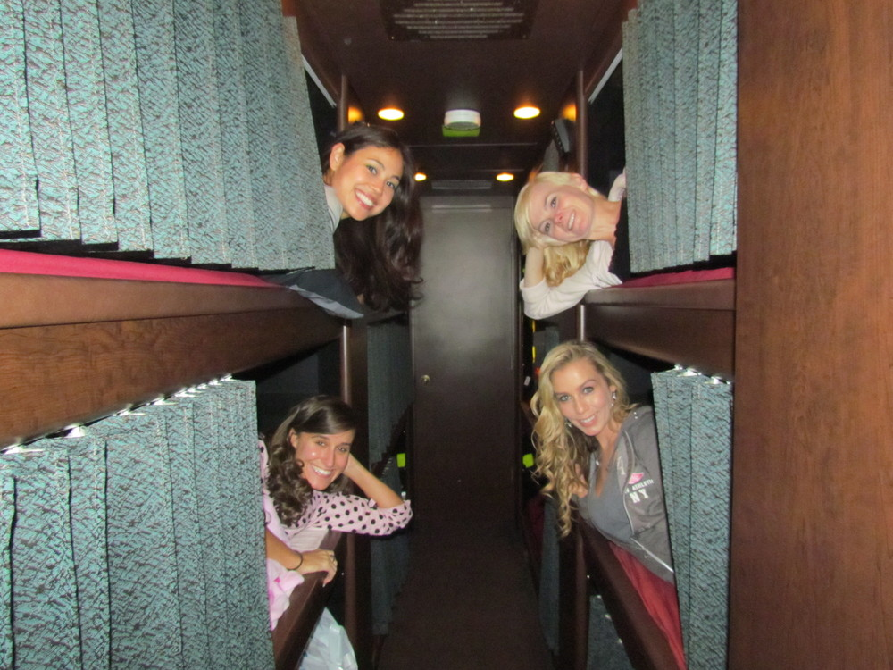With the ladies on the tour bus!