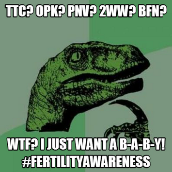 1. Trying To Conceive 2. Ovulation Predictor Kit 3. PreNatal Vitamin 4. Two Week Wait 5. Big Fat Negative For more fertility acronyms explained, go here...