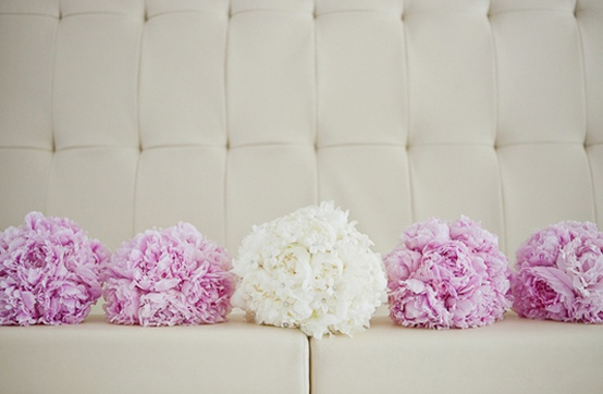 Bride & Bridesmaids' Peony Bouquets via Southern Weddings Magazine