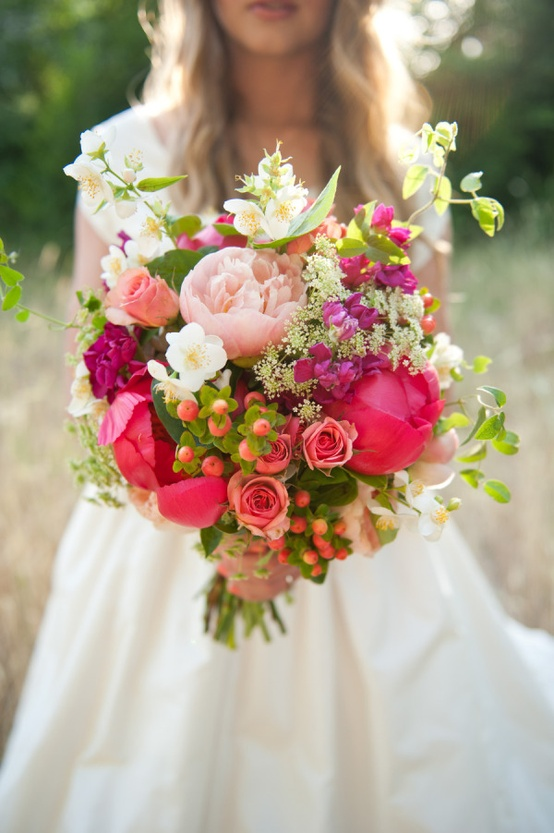 Wildflowers, Berries, Peonies & Roses via Style Me Pretty