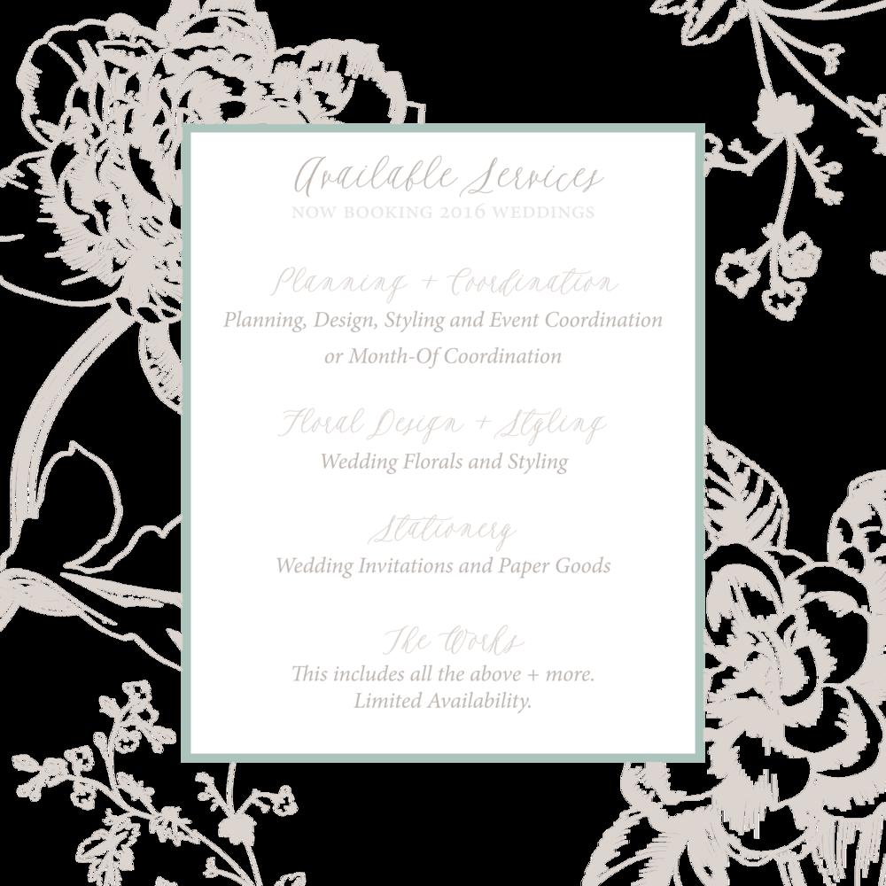 Victoria Austin Designs Services Fairhope Alabama Wedding Planning Florals Stationery