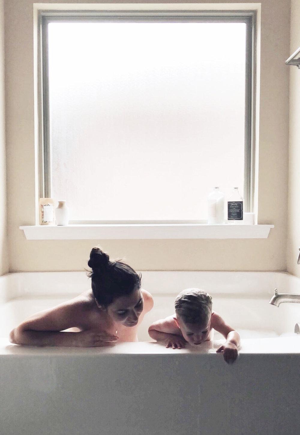 Bathtime, Mom and Baby