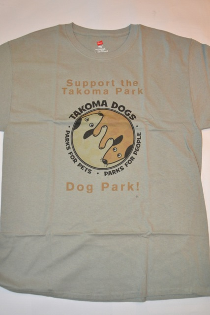 "Light green Hanes 5.1 Tagless T-shirt.  100% cotton. Has the TakomaDogs ""Parks for Pets. Parks for People"" slogan on back."