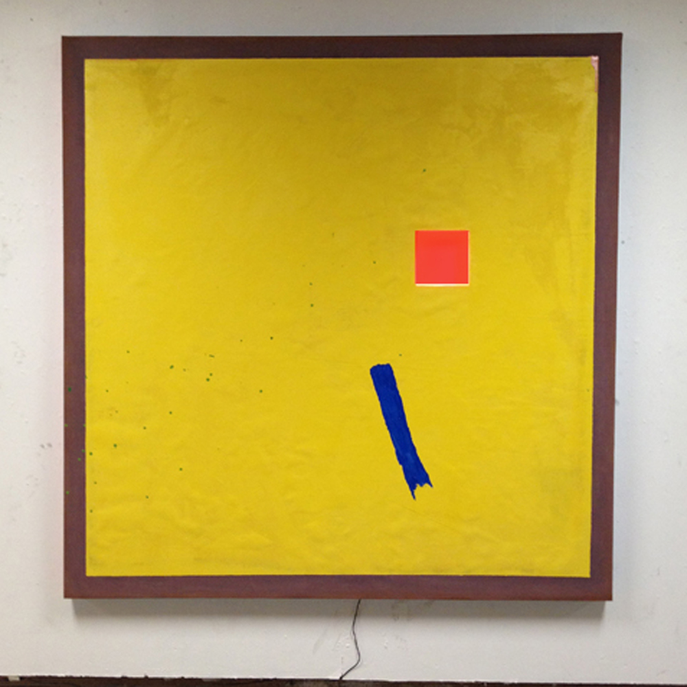 Untitled (Composition of red, yellow, and blue)    oil and enamel on canvas with LEDs 2012
