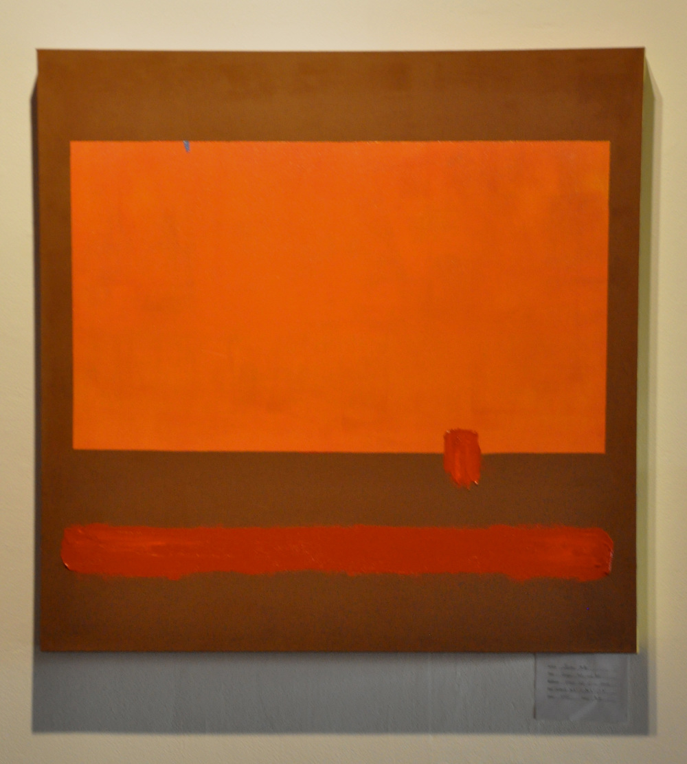 Orange, Red, and Red   oil and enamel on canvas 2012 pictured at 500x Gallery, Dallas TX
