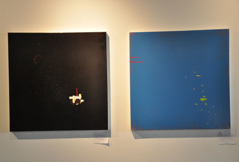 Untitled (Purpled, black, and brown) Untitled (Blue and pink on silver)   pictured at 500x Gallery, Dallas TX