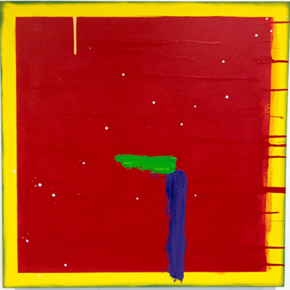 Untitled (Red square on yellow)   oil and enamel on canvas 2012