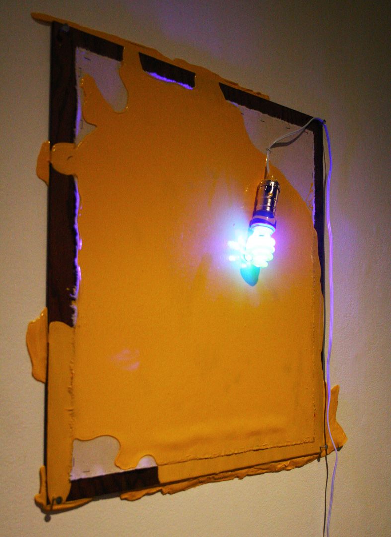 Untitled (Construction of yellow painting and blue light)   pictured at 500x Gallery, Dallas TX