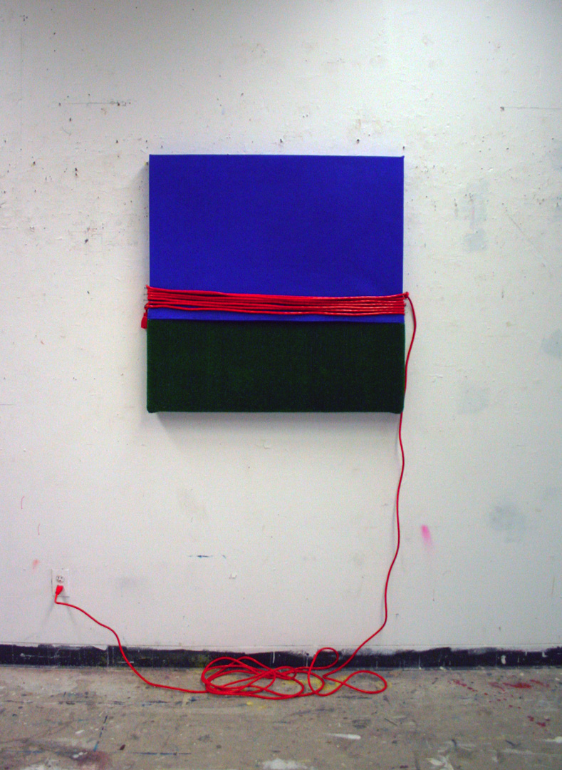 Untitled (Construction of blue, green, and orange)   raw pigment and polyvinyl acetate on canvas with turf, nails, and extension cord 2013