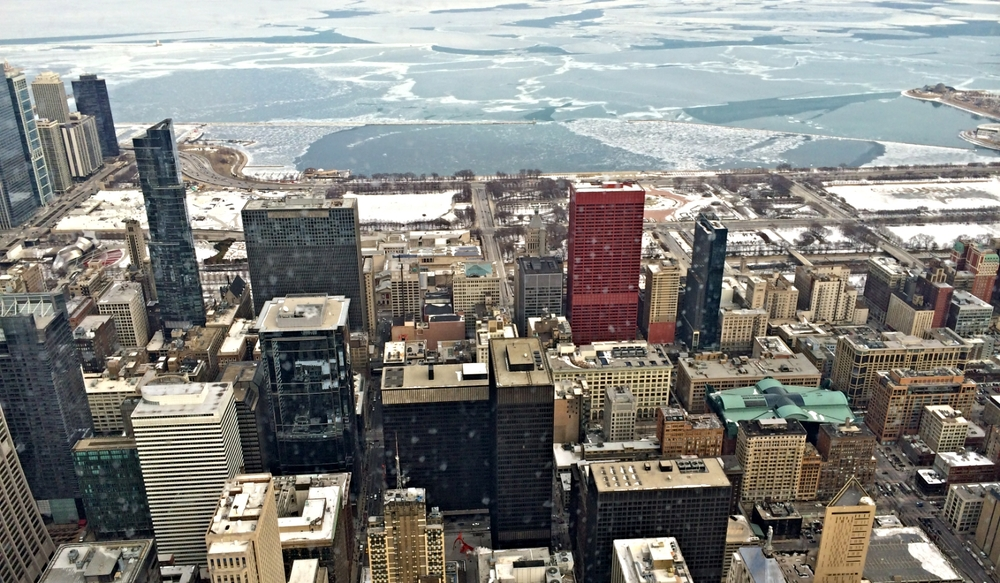 A view of the Loop in Chicago and a very much frozen Lake Michigan from the top of Willis Tower (formerly Sears Tower)