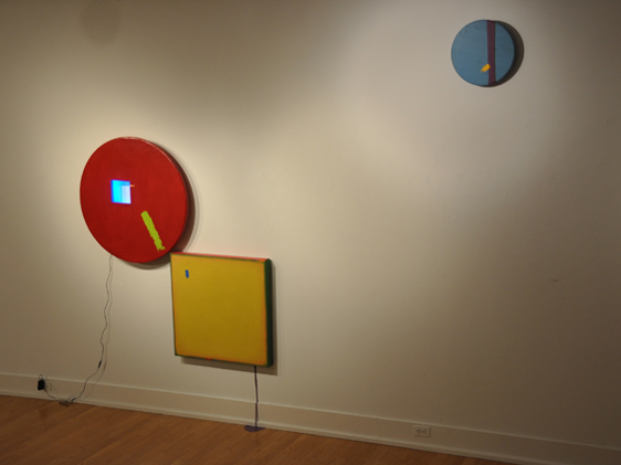 Untitled (Construction of a square and two circles)   oil and enamel on canvas and wood with LEDs and house paint 2012 pictured at Cora Stafford Gallery, Denton TX