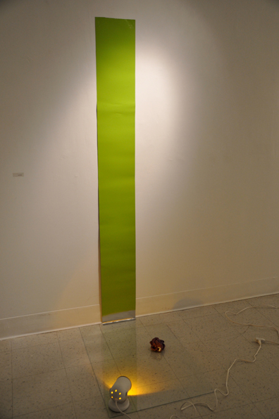 Untitled (Construction of yellow, green, and purple)   latex paint, glass, spotlight, and enamel on aluminum 2012 pictured at Cora Stafford Gallery, Denton TX
