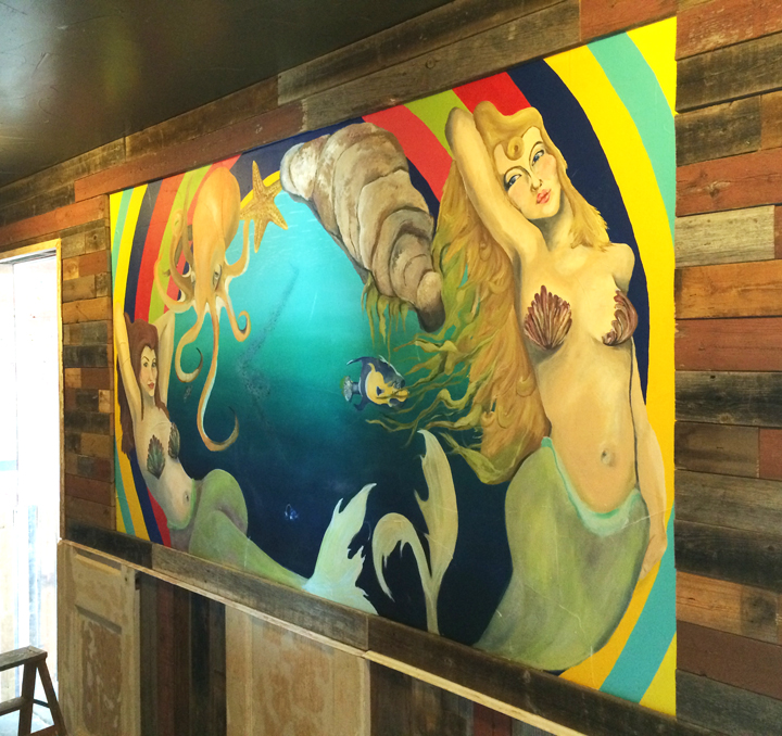 2014 commisioned by and located at Hoochie's Oyster House, Denton TX completed as a collaboration with Kaitlyn Arnold