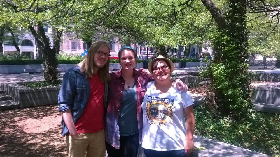 Kaitlyn and I with Frankie in a garden at the Art Institute