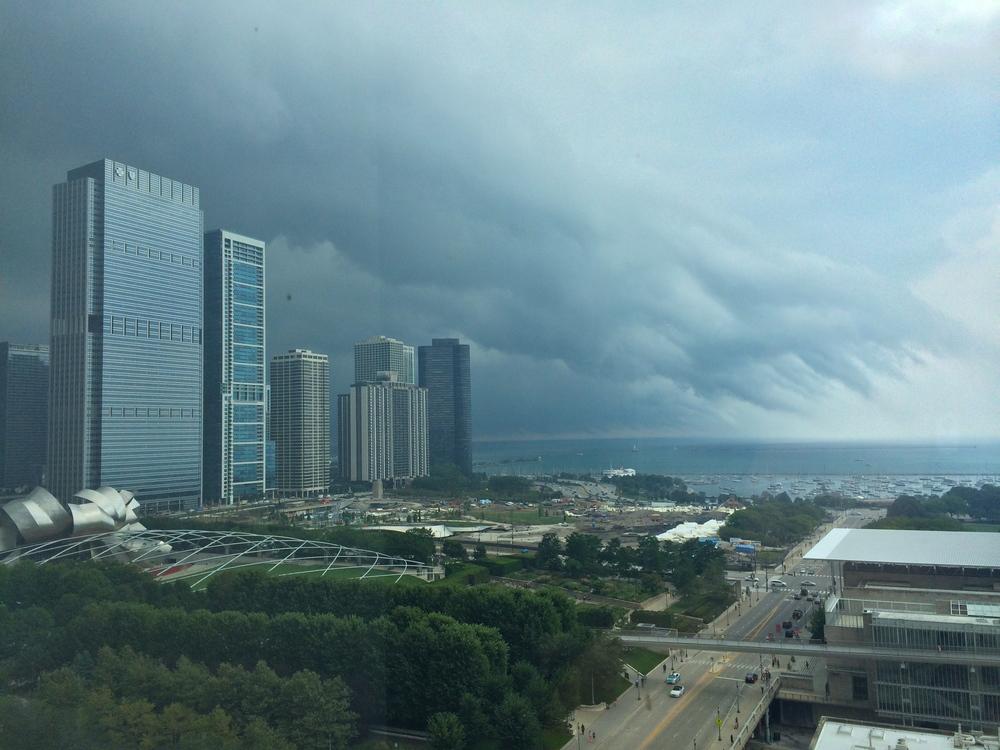 A storm moving in over Lake Michigan viewed from my studio floor