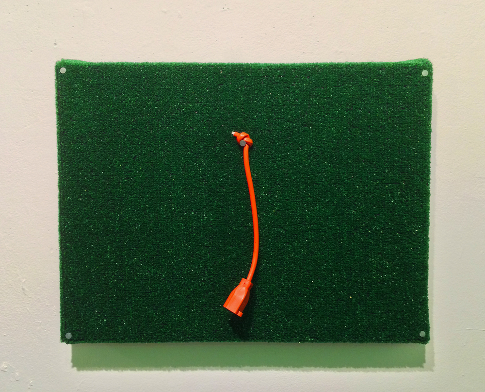 Untitled (Construction of green and orange III)  turf, nails, and cut extension cord on wood panel