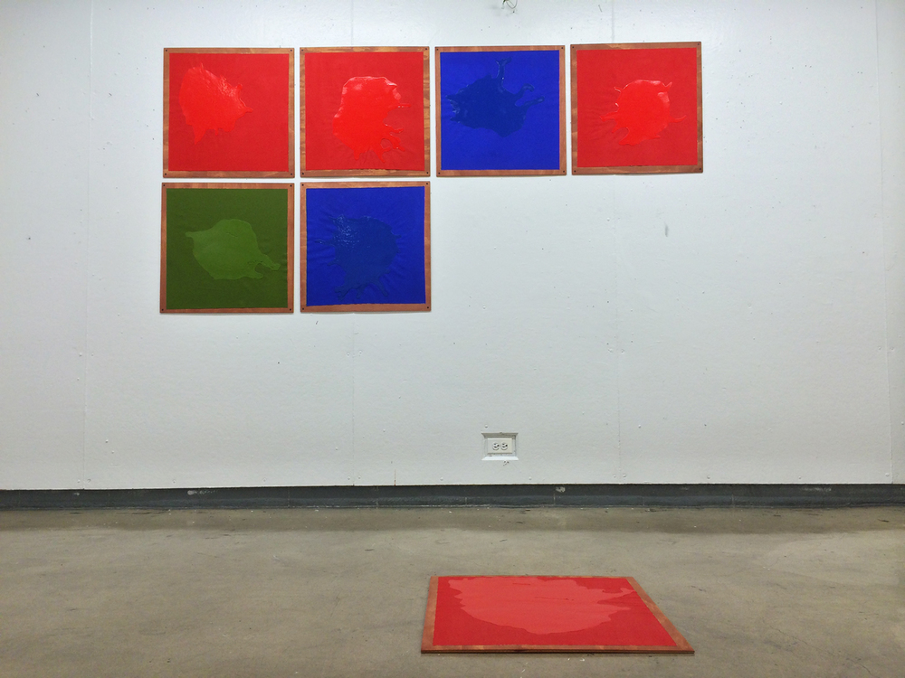Untitled (Construction of red, blue, green in seven part progression)  enamel and pigment on canvas on wood with screws