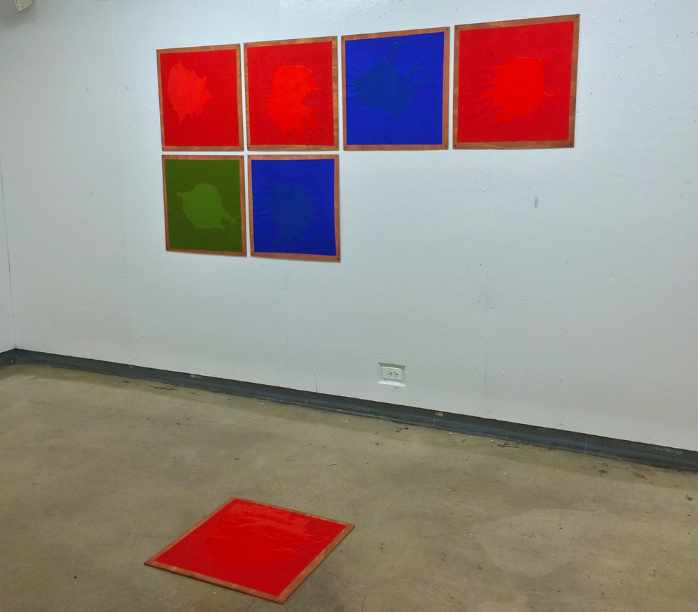 Untitled (Construction of red, blue, green in seven part progression)