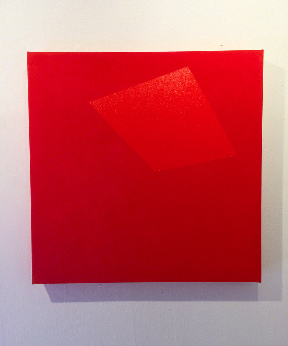 Untitled (Construction of red, red II)  enamel and pigment on canvas on panel