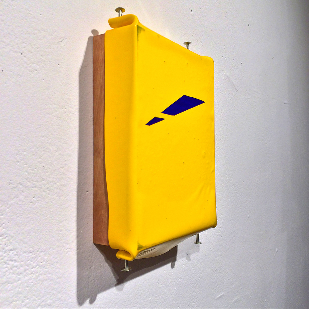 Untitled (Construction of yellow and blue VII)   enamel and pigment on panel with nails
