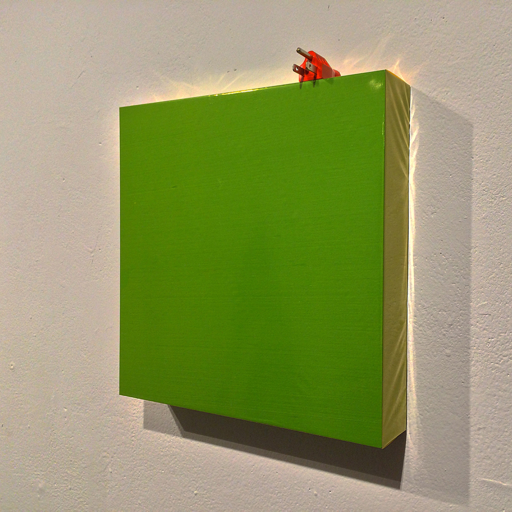 Untitled plastic painting (Construction of green and orange V)   cellophane and enamel on panel with cut extension cord plug