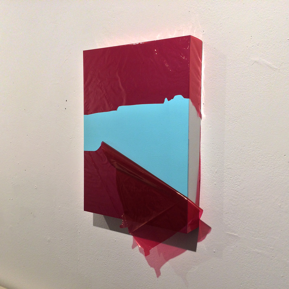 Untitled plastic painting (Construction of red and blue II)   cellophane and enamel on panel
