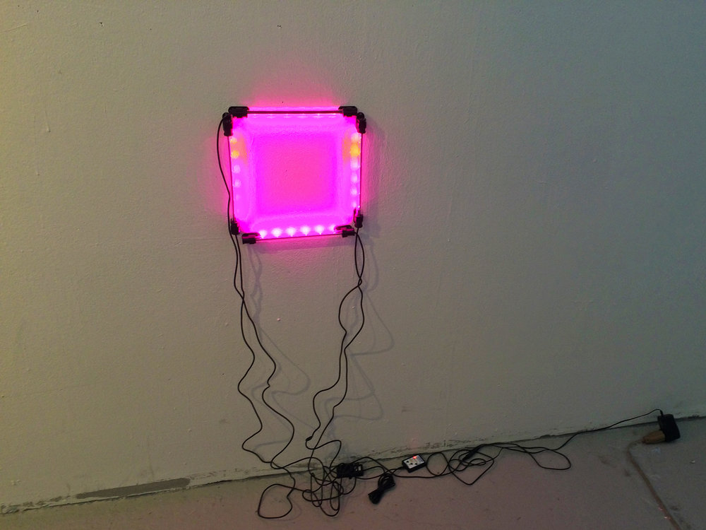 ink light/Pink painting (square, on)  LED lights, gloss enamel on wall, cords and nails